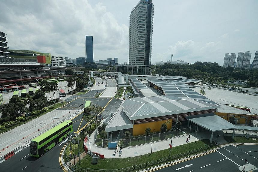 The new Jurong East bus interchange (at right) will be located opposite the current interchange in Jurong Gateway Road. The Land Transport Authority says most of the bus services that operate from the current interchange will continue to operate dire