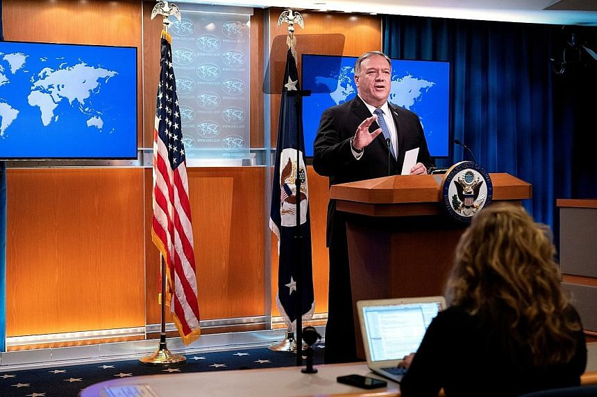 US Secretary of State Mike Pompeo at a media briefing in Washington on Tuesday. He could be joking when he said the administration was ready for a transition - to a second Trump administration - but few are amused over the prolonged post-election imp