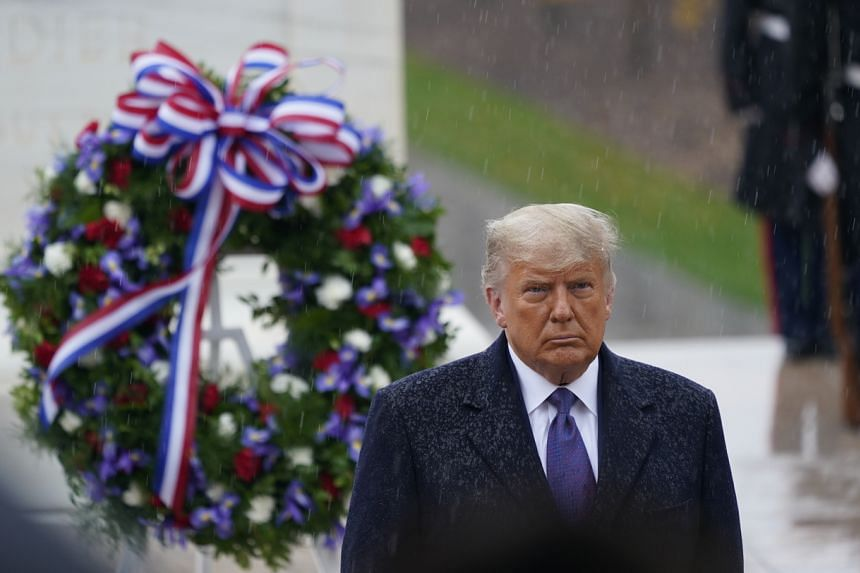 President Trump placed a memorial wreath at the Tomb of the Unknown Soldier at Arlington National Cemetery on Nov 11, 2020.