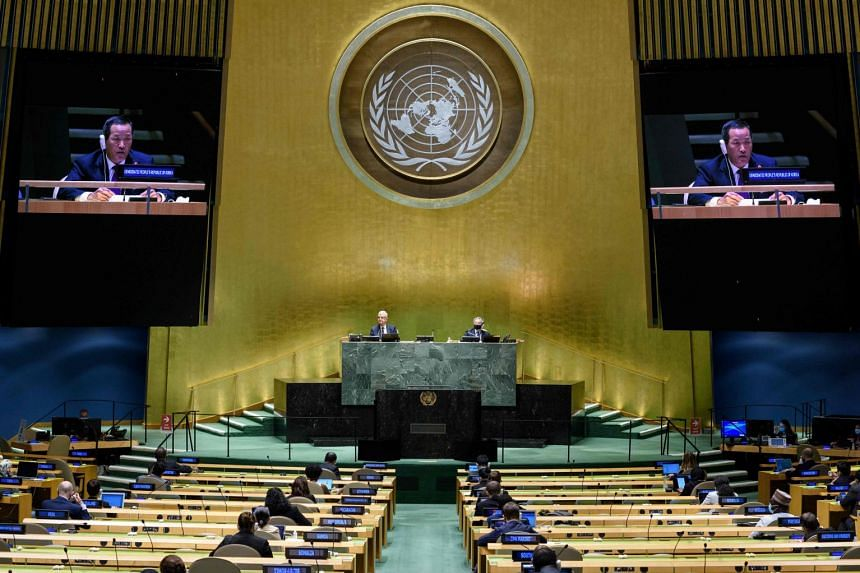 North Korea's representative Kim Song addressing the UN General Assembly in September 2020.