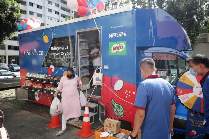 The truck can hold about 200 products, including fresh fruit and frozen products, and serve up to five customers at a time.