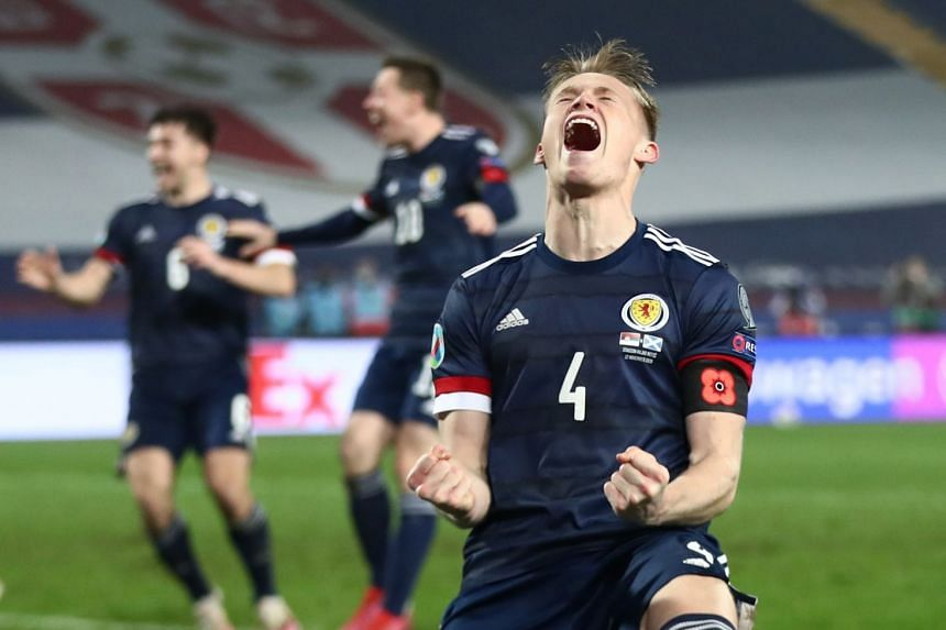 Scotland's Scott McTominay celebrates after the match.