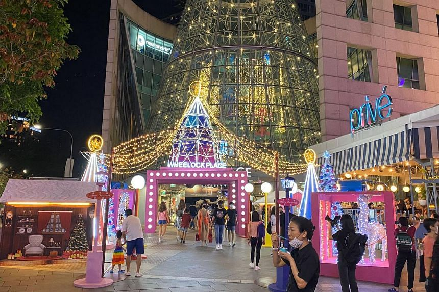Wheelock Place during the launch of the Christmas On A Great Street light-up along Orchard Road, on Nov 13, 2020.