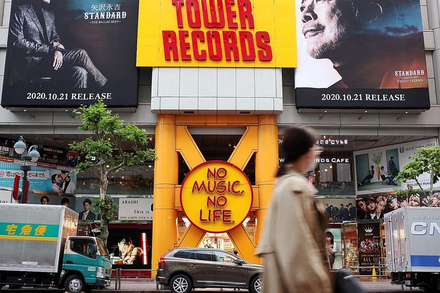 A Tower Records store in Shibuya district in Tokyo, Japan. The Japanese retail music franchise and music store says it has suffered a serious slump since the pandemic as consumers avoided going out and artists cancelled new releases along with events