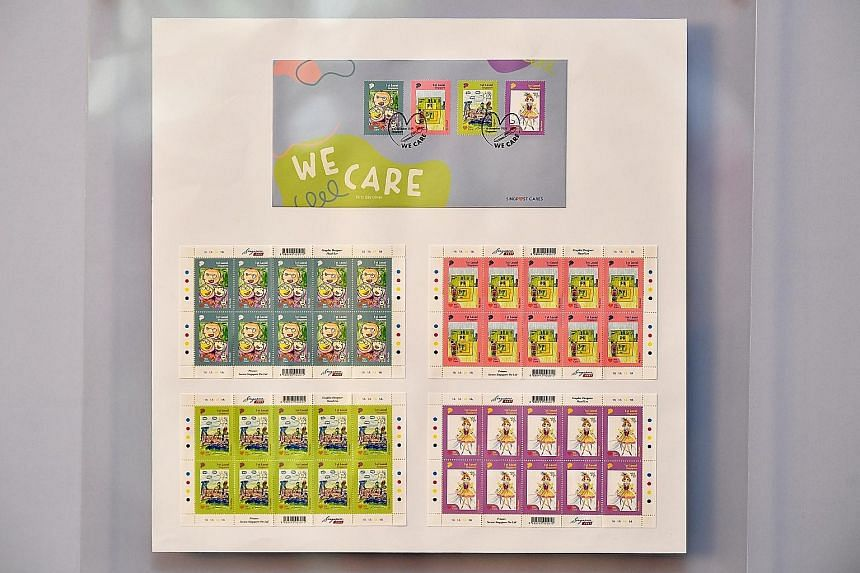 The set of four stamps designed by four students from Minds, which helps those with intellectual and developmental disabilities.