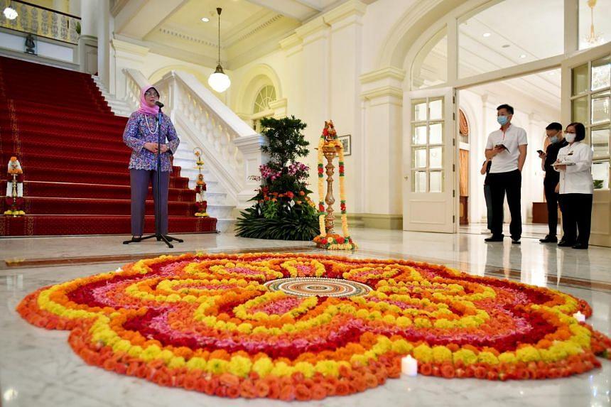 President Halimah Yacob hosting the Istana's Deepavali virtual open house on Nov 14, 2020.