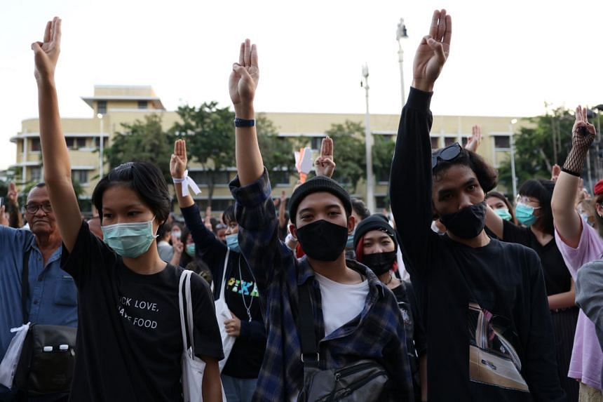Some 2,500 protesters gathered at Democracy Monument in Bangkok.