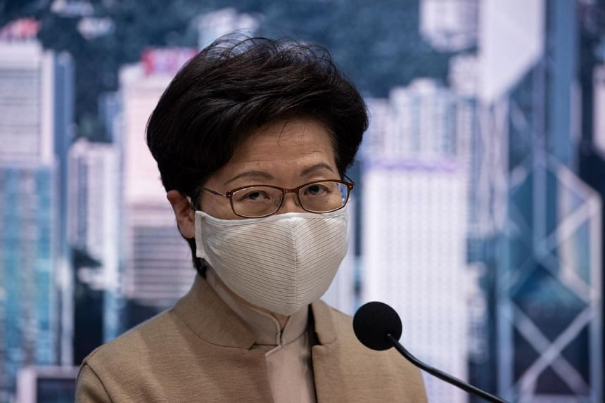 Hong Kong Chief Executive Carrie Lam speaks during a press conference in Hong Kong on Nov 11, 2020.