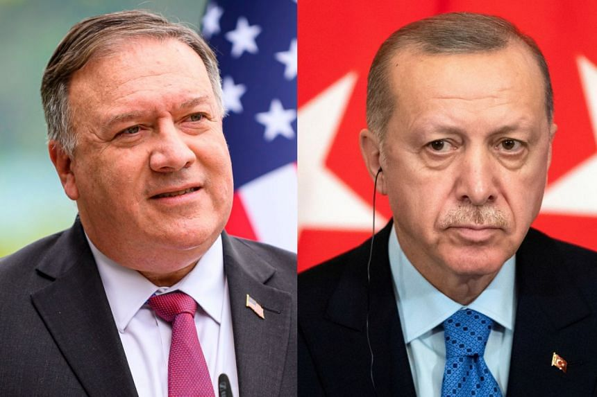 Pompeo (left) won't meet with Erdogan (right) or other government leaders when he visits Turkey.