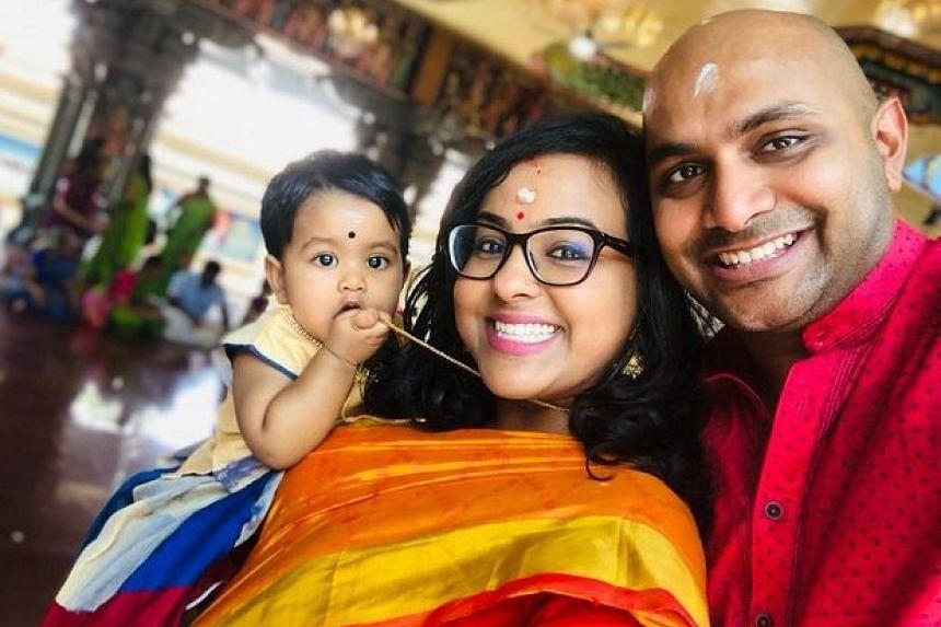 Mr Sankaran Shanmugam with his wife, Hambhika Nair, and their daughter in a Deepavali celebration last year.