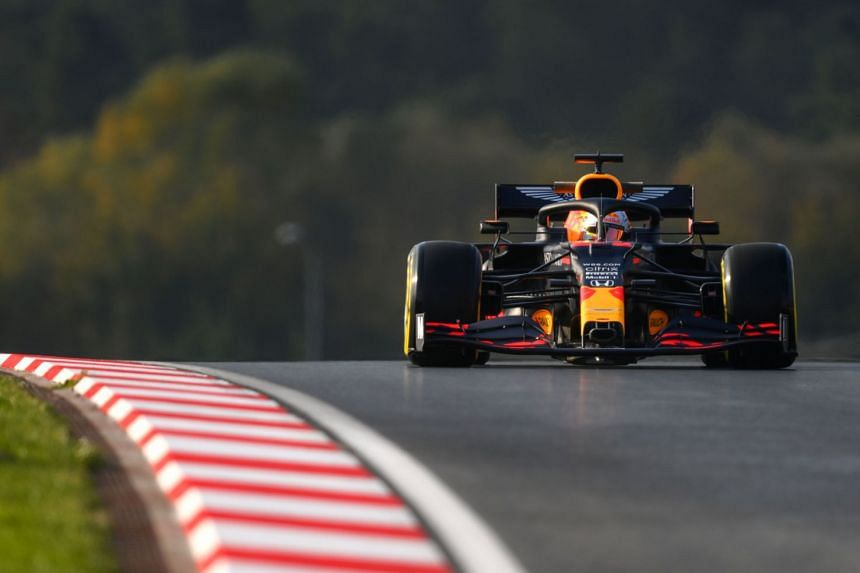 Verstappen drives during the second practice session.