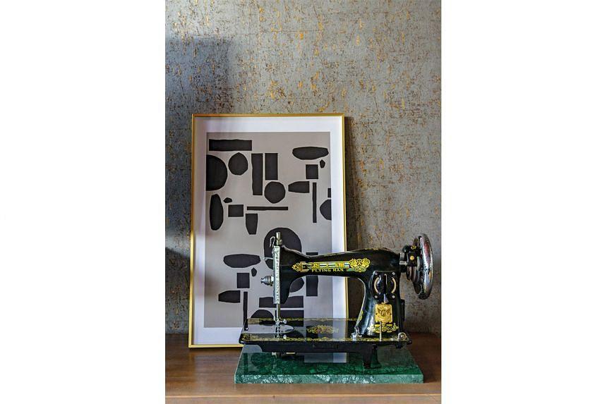 An antique sewing machine is now a sculptural art piece.