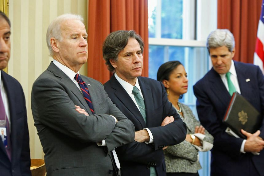 Antony Blinken (centre) is widely seen as a natural fit to be President-elect Joe Biden's national security adviser or a possible pick for secretary of state.