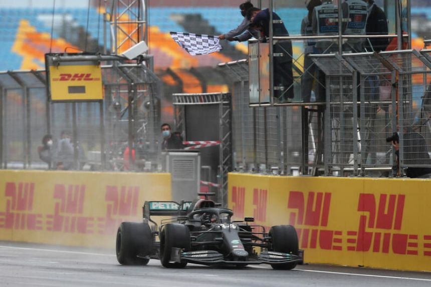 Mercedes' Lewis Hamilton crossing the finish line at the Turkish Grand Prix in Istanbul on Nov 15, 2020.