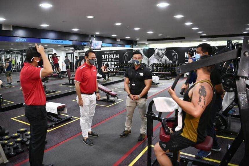 Senior Minister of State for Defence and Safra president Zaqy Mohamad touring the EnergyOne Gym at Safra Tampines on Nov 15, 2020.