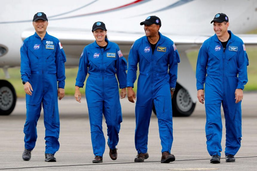 (From left) Jaxa astronaut Soichi Noguchi and Nasa astronauts Shannon Walker, Victor Glover and Mike Hopkins at Kennedy Space Centre in Cape Canaveral, Florida, on Nov 8, 2020.
