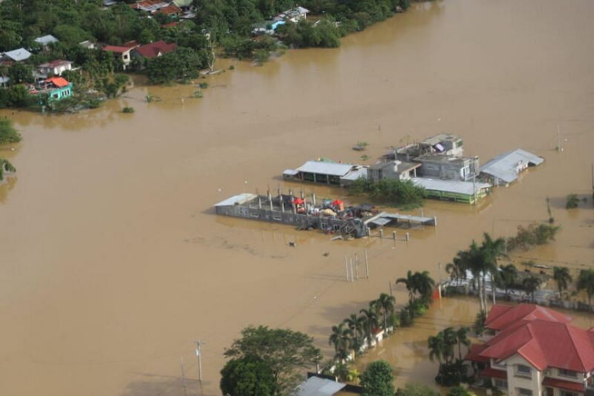Buildings are flooded in the aftermath of Typhoon Vamco, in the Cagayan Valley region in the Philippines, on Nov 14, 2020.