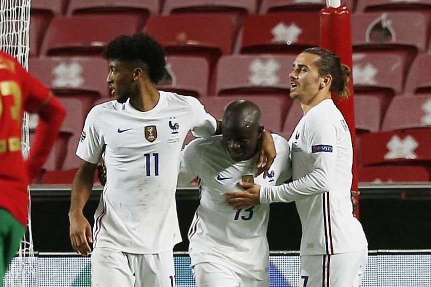 N'Golo Kante earning the plaudits from Kingsley Coman and Antoine Griezmann after scoring France's only goal in Lisbon to knock out Nations League holders Portugal.