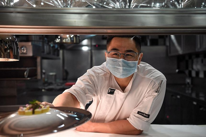 Now a chef de partie at Les Amis, Mr Spencer Tay interned at the restaurant in 2015 during his technical diploma programme and returned last year as a full-time employee. ST PHOTO: KUA CHEE SIONG