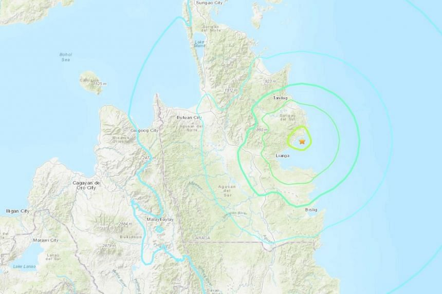 The offshore quake hit at a depth of 33km south-east of the town of San Agustin, Surigao Del Sur.