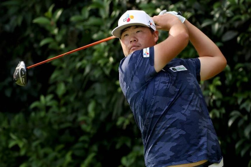 Im Sung-jae playing his shot from the 14th tee during the final round of the Masters, on Nov 15, 2020.