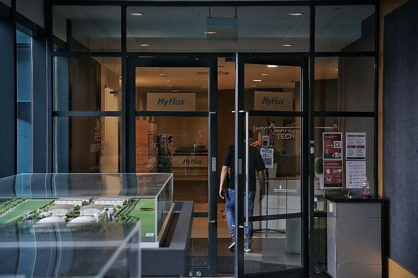 Hyflux's office in Bendemeer Road yesterday. Sources told The Straits Times that representatives of Borrelli Walsh, the restructuring firm advising the unsecured working group of 19 banks that hold more than $931 million of Hyflux debt, were at the b