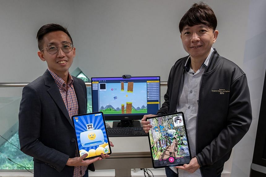 Project officer Ivan Yew (left) and Professor Ong Yew Soon at the NTU Data Science and Artificial Intelligence Research Centre where they developed the three applications.