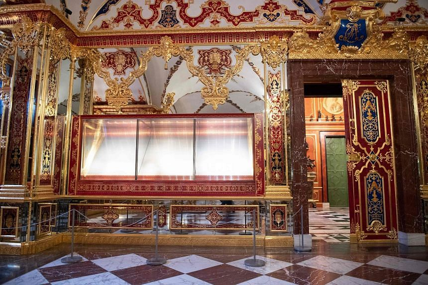 The empty showcase from which jewels were stolen at the Royal Palace in Dresden, Germany.