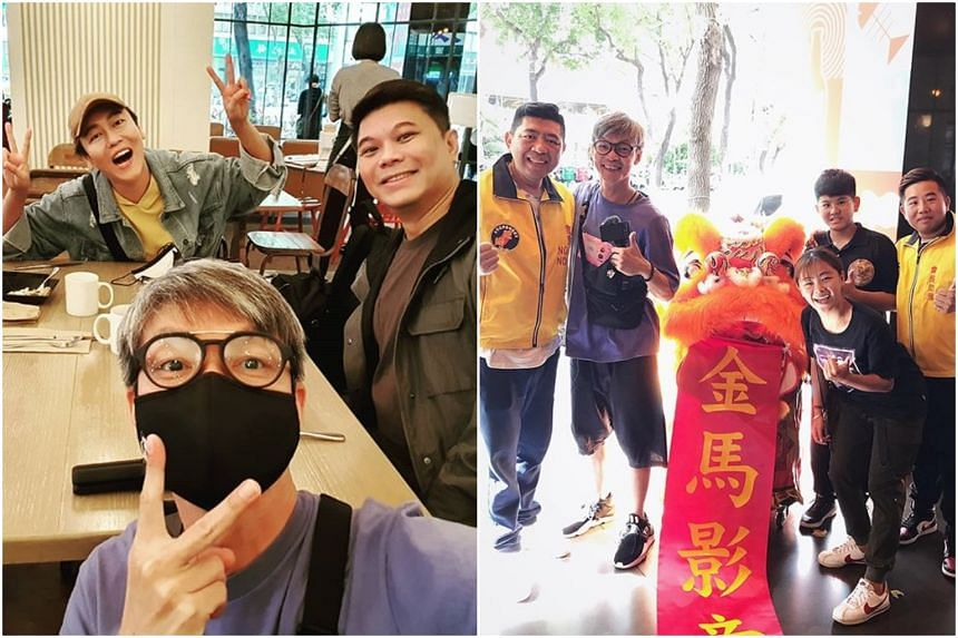 Local actor Mark Lee celebrated ending his quarantine with his wife and colleagues (left) while Taiwanese comedian Nono welcomed Lee with a lion dance.