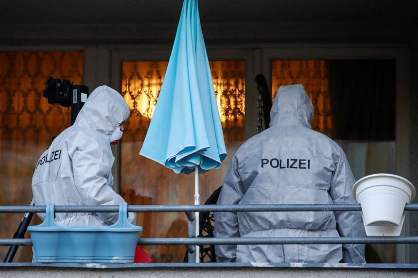Police investigators collecting evidence at the site of a raid in connection with the Dresden heist, in Berlin, Germany, on Nov 17, 2020.