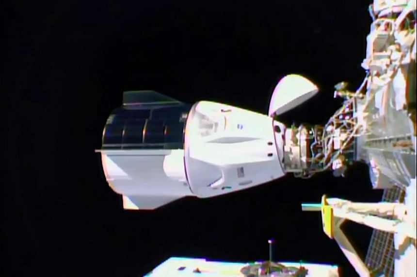 The SpaceX Crew Dragon docked to the International Space Station, on Nov 16, 2020.