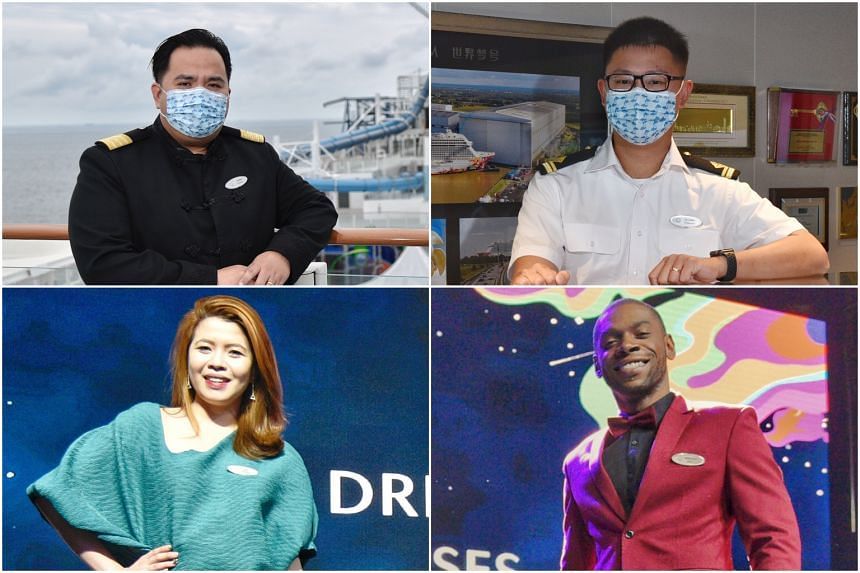(Clockwise from top left) World Dream's hotel director and safe measures officer Jarwin Tan Peralta, second officer Zachary Loh, production manager Leonardo de Souza Martins and cruise director Shari Faye Lamela are excited to be receiving guests, wi