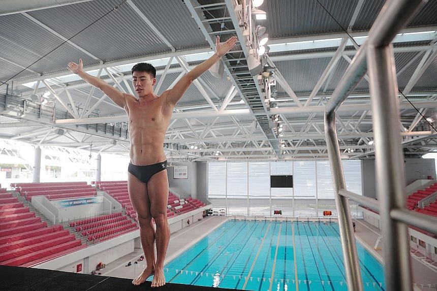 Jonathan Chan, the first Singapore diver to qualify for the Olympics, getting ready to plunge from the 10m platform in training.