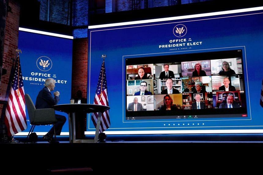 Mr Joe Biden receives a national security briefing via video conference in Wilmington, Delaware, on Nov 17, 2020.