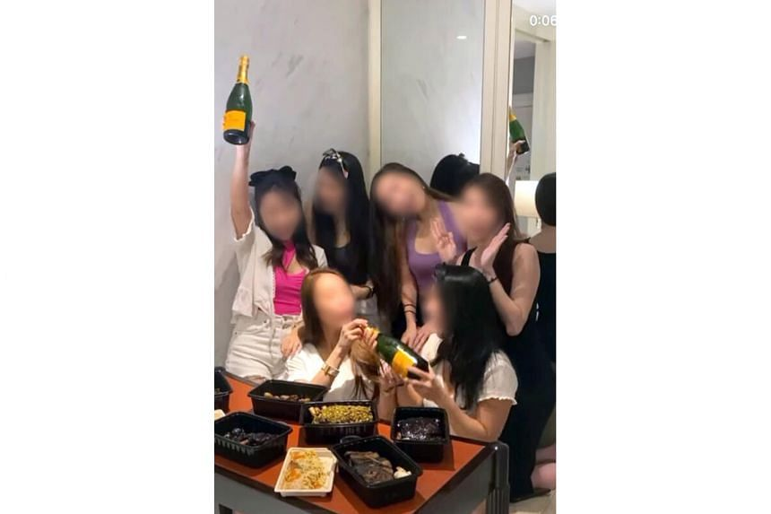 Videos of a group of at least six women and a man were uploaded on social media on Sunday, when they allegedly held a party at a Sentosa hotel to celebrate the 33rd week of pregnancy of one of the women.