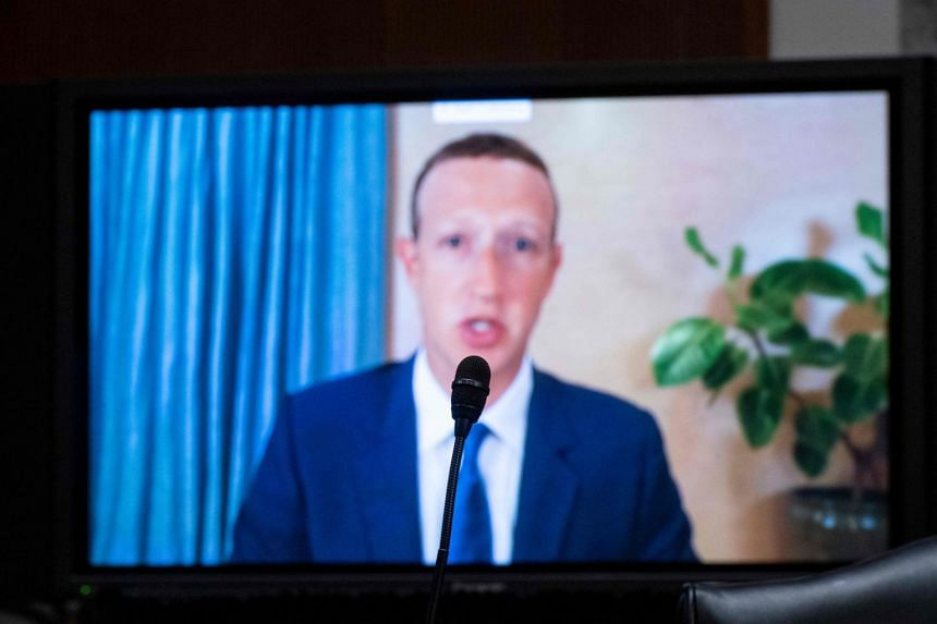 Facebook's Mark Zuckerberg testifies remotely during the Senate Judiciary Committee hearing.