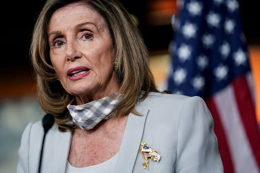 """Pelosi (above) pledged to take action to help """"crush"""" the US Covid-19 crisis"""