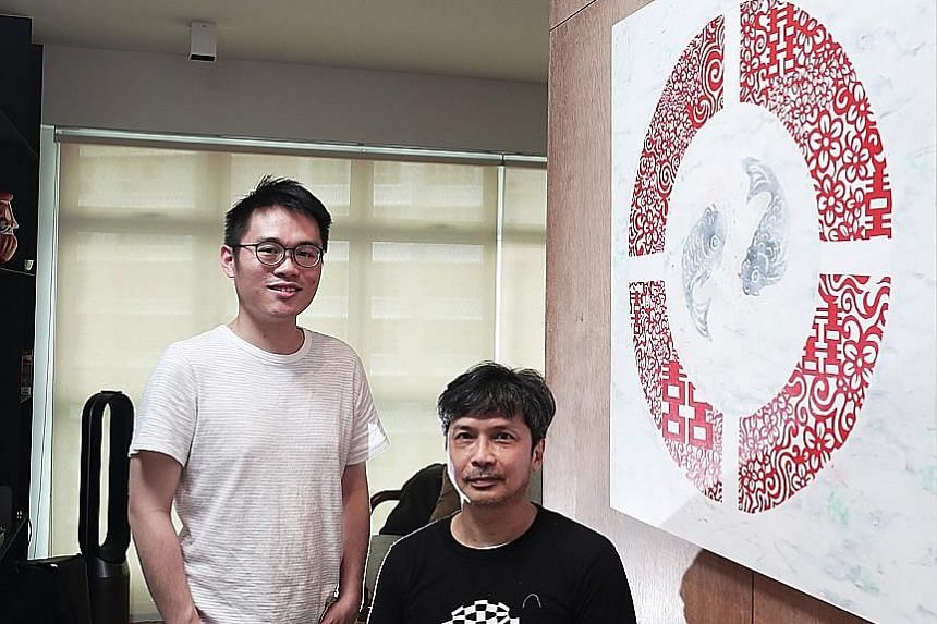 Glass artist Tan Sock Fong (left) with pieces from her gallery. She has created everything from stained glass doors to room dividers to coffee tables for her clients. Mr Alex Tan (left) commissioned a painting by Justin Lee (right) for the entryway o