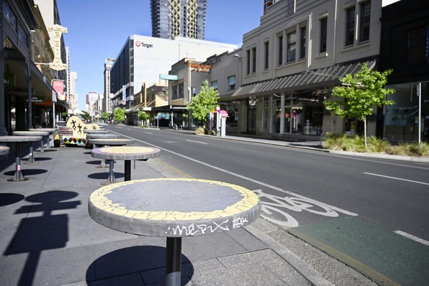 An empty Rundle Street on the first day of lockdown in Adelaide, South Australia.