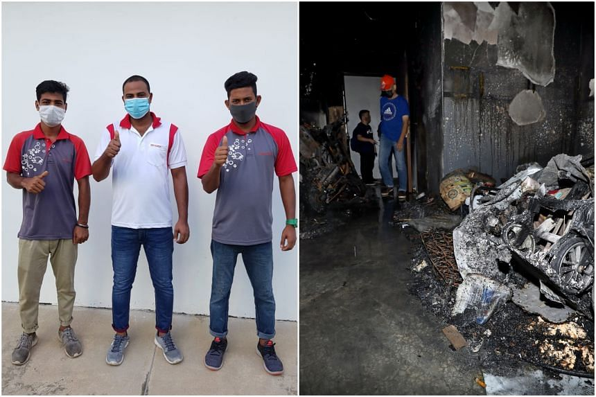 (From left) Mr Easin Mohammad, Mr Hossan Mohammad Saddam and Mr Biswas Md Wasim, immediately rushed up to the flat which was engulfed in flames.