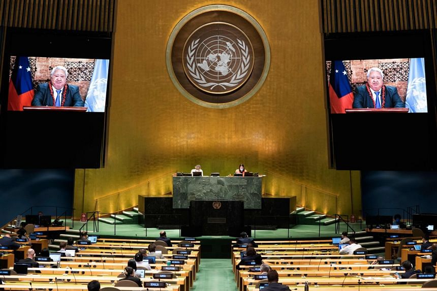 Mr Malielegaoi speaks virtually at the 75th session of the United Nations General Assembly, on Sep 26, 2020.