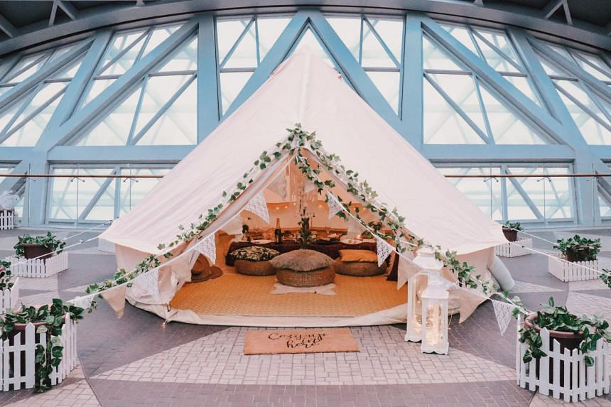 Families can cosy up in glamping tents at the Cloud9 Piazza and Shiseido Forest Valley at Jewel Changi Airport.