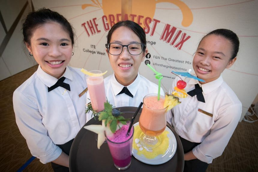 (From left) The top three winners Lim Bei Ni, Tan Wei Ling and Gina Lim at the Drinks Creation Challenge 2020.