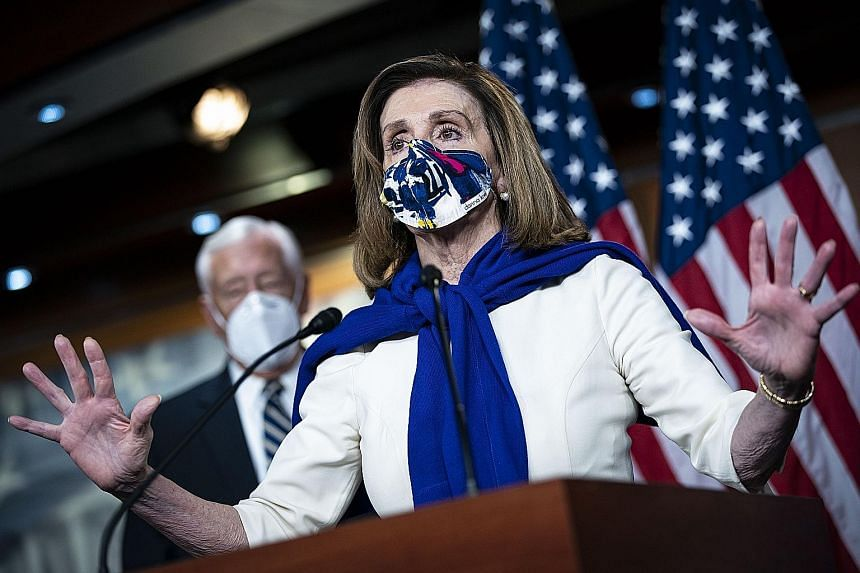 """Mrs Nancy Pelosi, the highest-ranking woman in US congressional history, said she was """"very, very honoured"""" to accept the nomination for Speaker and pledged to take action to help """"crush"""" the Covid-19 crisis."""