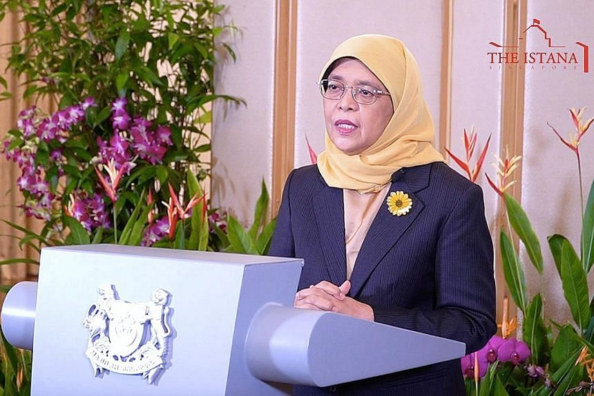 President Halimah Yacob, in her Women's Forum Global Meeting speech, said women empowerment is not just an ideal of fairness but also makes economic sense. PHOTO: PRESIDENT'S OFFICE