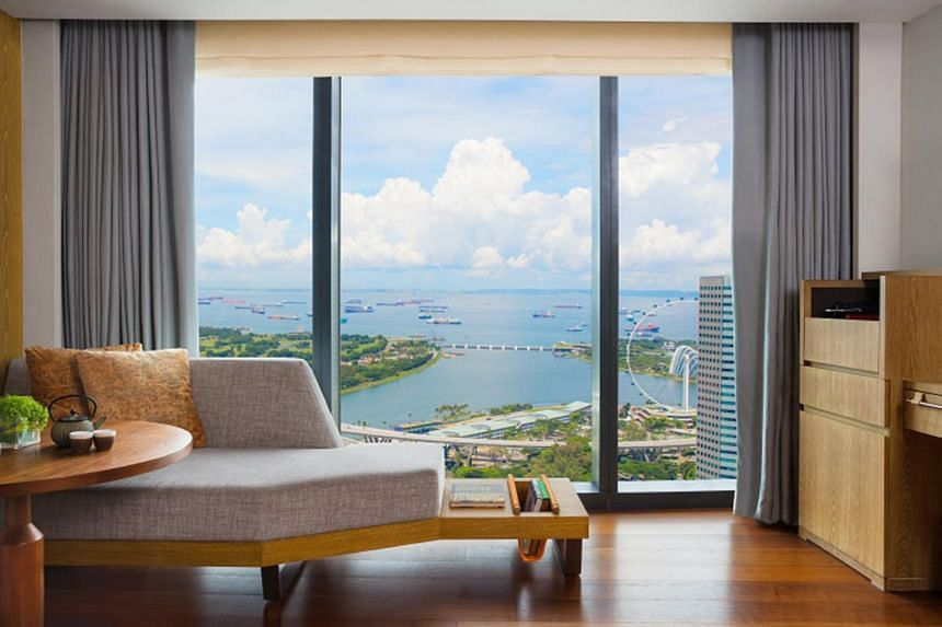 A view of the bay from the deluxe room at Andaz Singapore.