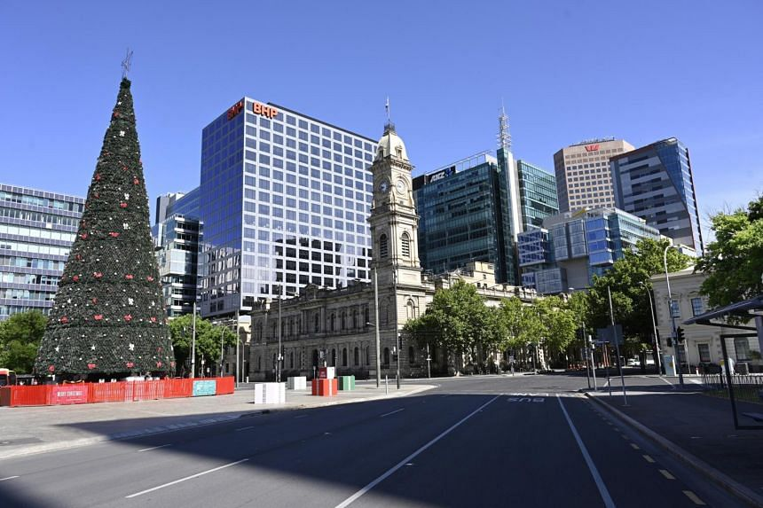 An empty street is seen on the first day of the Covid-19 lockdown in Adelaide on Nov 19, 2020.