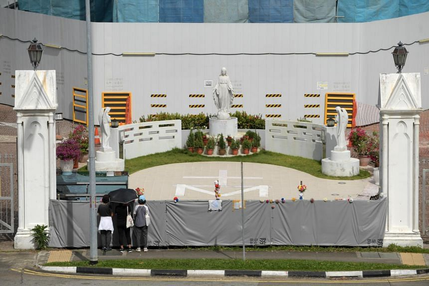 Police said that they had received a report on Nov 12 that the statue in the courtyard of the church had been defaced.