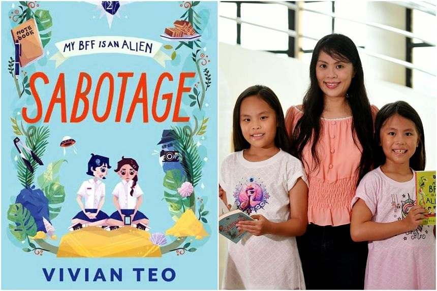 Author of My BFF Is An Alien, Vivian Teo, with her daughters aged eight and 10.