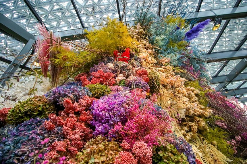 A five-metre tall floral sculpture made of dried and preserved flowers named 'Joy' will be unveiled for the first time at Gardens by the Bay's Floral Fantasy attraction.